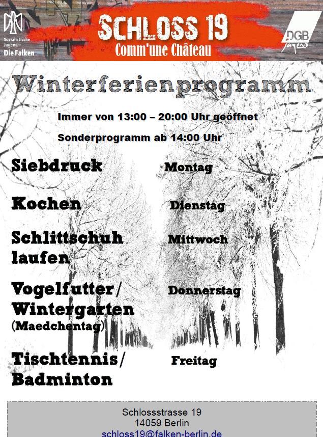 Winter ferien Schloss19 Falken Berlin
